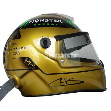 MICHAEL SCHUMACHER 2011 20 YEARS COMMEMORATIVE GOLDEN F1 REPLICA HELMET FULL SIZE