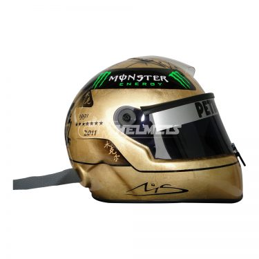 MICHAEL SCHUMACHER 2011 20 YEARS COMMEMORATIVE WITH 18K GOLD F1 REPLICA HELMET FULL SIZE