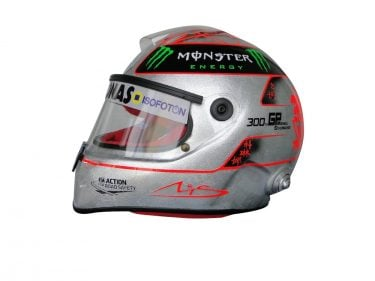 MICHAEL SCHUMACHER COMMEMORATIVE 2012 300TH GP SPA SILVER PLATED F1 REPLICA HELMET FULL SIZE